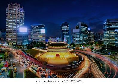 night cityscape at namdaemun square in seoul south korea