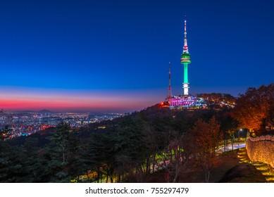 night cityscape at namsan mountain seoul korea
