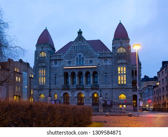 Night cityscape with old building in Helsinki, Finland