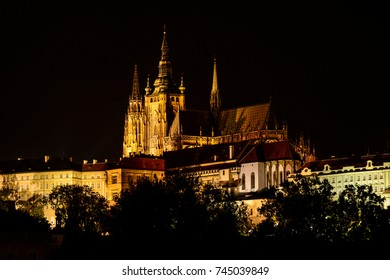 Night cityscape of Prague Old town, St. Vitus Cathedral