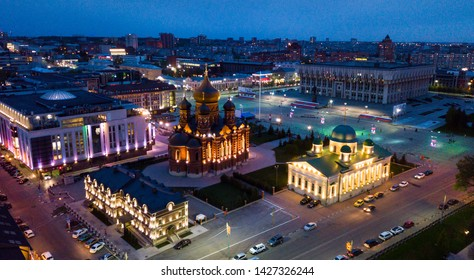 Night cityscape of Russian city Tula with Orthodox Cathedral, Regional administration and Transfiguration Church