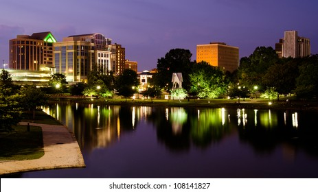 Night cityscape scene of downtown Huntsville, Alabama, from Big Spring Park after sunset