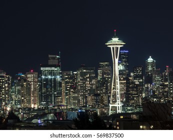 Night Cityscape of Seattle Skyline with Dark Sky Background for Building Lights
