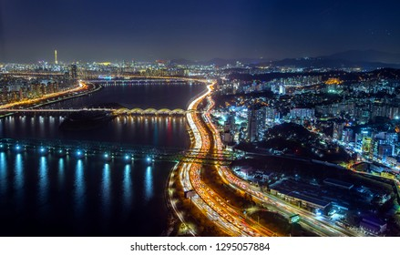 night cityscape of seoul city south Korea