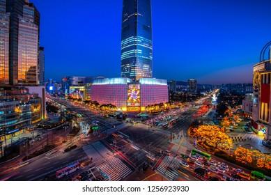 night cityscape at seoul south Korea