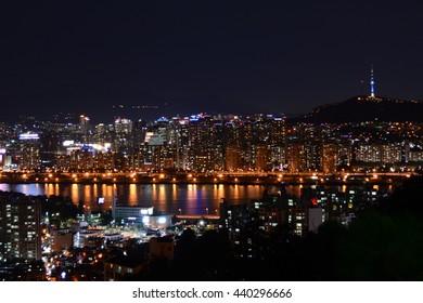 Night Cityscape with Seoul Tower, Seoul, South Korea