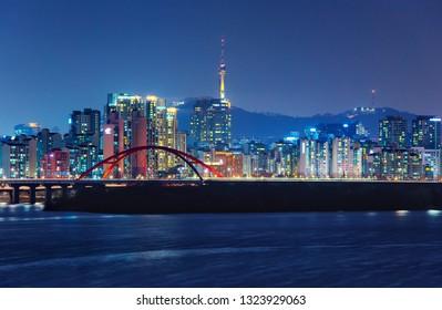 Night cityscape of Seoul,South Korea