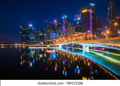 Night Cityscape of Singapore city