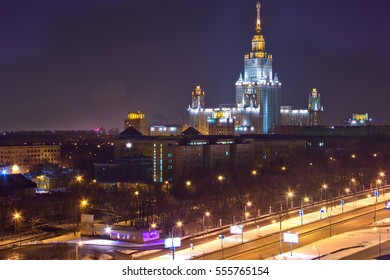 Night cityscape view of Moscow. View from rooftop to the main building of Moscow State University at night