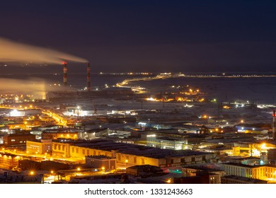 Night cityscape view from mountain. February 16, 2019. Norilsk