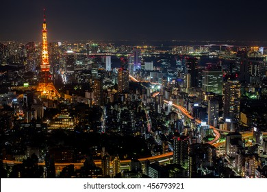 Night cityscape view of Tokyo location at Tokyo tower Japan