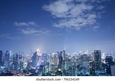 night cityscape view,bangkok thailand