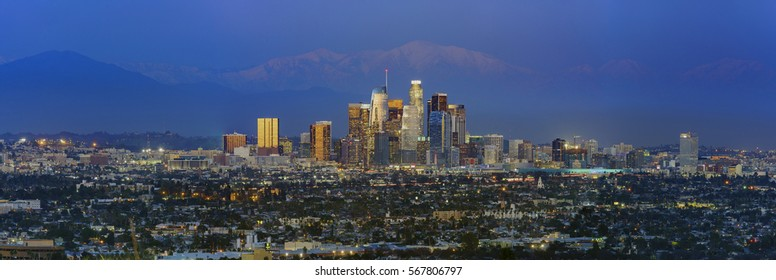 Night classical view of Los Angeles Downtown at Kenneth State Park