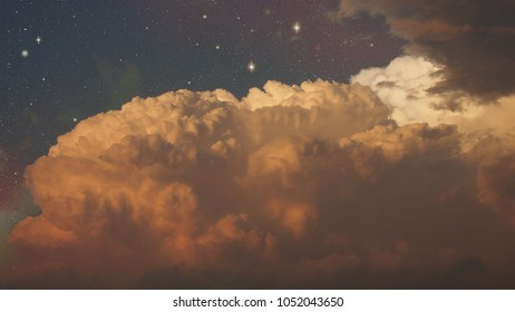 Night Cloudy Sky with stars in warm color