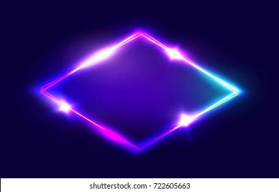Night Club Neon Rhomb. 3d Retro Light Lozenge Sign With Neon Effect. Techno Rhombus Background. Glowing Brill Frame On Dark Blue Backdrop. Electric Street Diamond. Illustration in 80s Style.