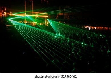 Night club party crowd green laser