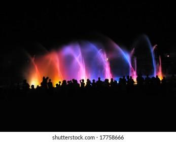 night club party; people near fountain in night