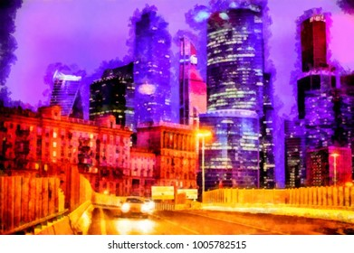 Night colorful city with skyscrapers in watercolors. Digital painting