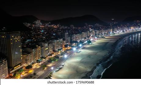 The Night in Copacabana Beach in Rio of Janeiro, Brazil