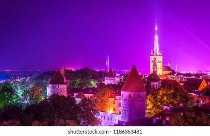 Night dark view of the city from the observation deck, panoramic view Tallinn. Estonia