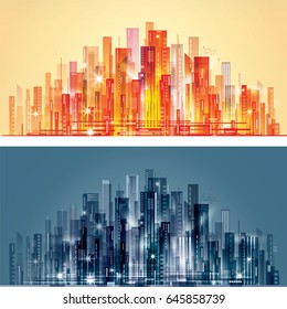 Night and day city background