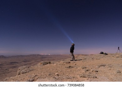 Night desert in Large crater of Israel