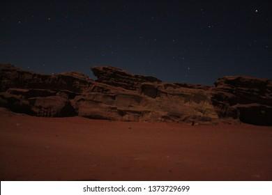 Night in the desert Wadi Rum