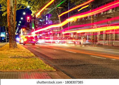 Night and downtown in Saarbrücken Saarland Germany Europe with busy street at 2019.07.24