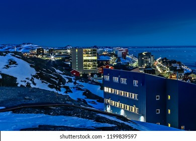 Night downtown streets and buildings of Greelandic capital Nuuk, Greenland