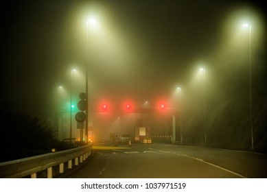 Night driving in foggy weather near Mount Fuji, Hakone, Japan