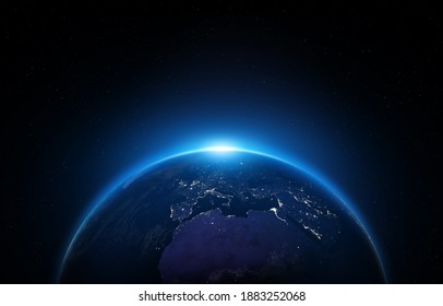 Night Earth. Africa, Europe, and Asia at night viewed from space with city lights. View of Earth from space. Italy, Germany, France, Spain, Greece, Portugal, Turkey, Algeria and other countries.