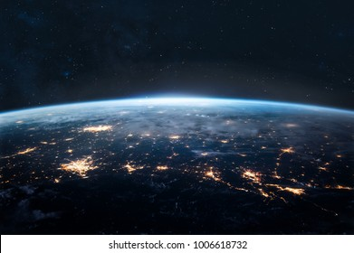 Night Earth. City lights on planet. Civilization. Elements of this image furnished by NASA
