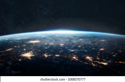 Night Earth. City lights on planet. Civilization. Focus on center of the shot. Elements of this image furnished by NASA