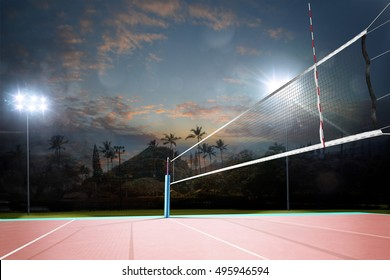 Night empty professional volleyball open air court with net