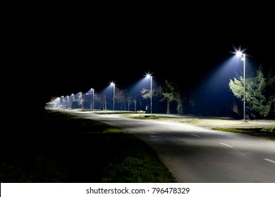 night empty road with modern LED street lights