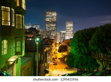 Night empty street at San Francisco with Lombard Street/Distance view . Night lights of city. Long exposure