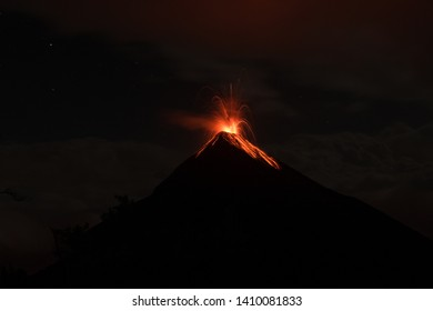 Night eruption of Fuego Volcano in Guatemala