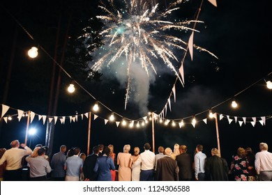 Night evening is the background. The general plan for the belt. At the wedding, guests and newlyweds see a beautiful salute in the sky. The bride and groom with relatives and friends.