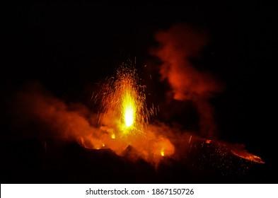 Night excursion to Sciara del Fuoco 'island of Stromboli activity of the Stromboli volcano