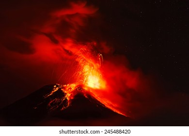 Night Explosion Of Tungurahua Volcano, Ecuador, South America
