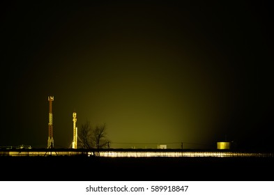 Night factory in the light