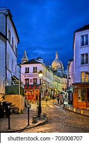 Night falling at Montmartre, probably the most picturesque district of Paris, France. Date taken: 6.12.2016