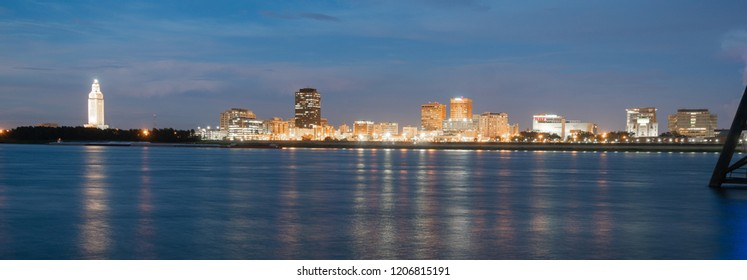 Night Falls on the Mississippi River Showing State Capital Building Baton Rouge