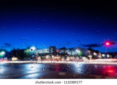 Night falls on a rainy night in downtown Lake Geneva, Wisconsin. Popular tourist destination for Chicagoans.
