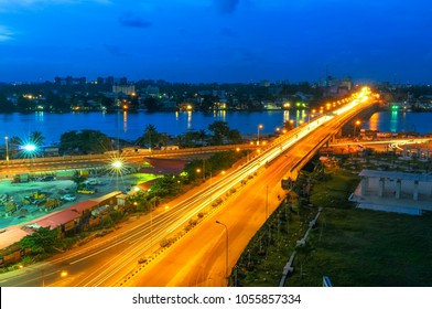 Night Falls on Rush Hour Traffic, Falomo Bridge, Victoria Island Lagos, Nigeria