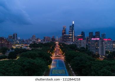 Night falls over downtown Philadelphia