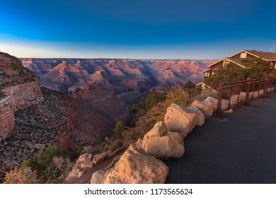 Night falls over grand canyon south rim