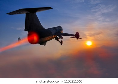 Night flight. Military Airplane in the sky at sunset
