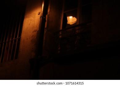 Night Floor Lamp Miror Old Abandoned Tubing Copper