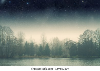night fog .Elements of this image furnished by NASA